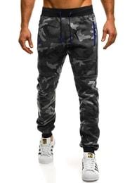 Teplákové jogger kalhoty v tmavě šedém maskáči J.STYLE KK08