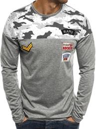 Trendy šedé tričko s dlouhým rukávem J.STYLE SX025