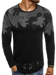 Černé pánské tričko s maskáčem BREEZY 171403