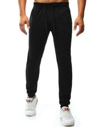 Dstreet Jednoduché černé sportovní jogger tepláky