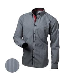 Šedá pruhovaná košile V015