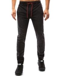 Dstreet Černé pánské jogger kalhoty s červenou šňůrkou - 32