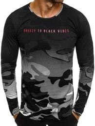 Stylové šedé pánské army tričko BREEZY 171336