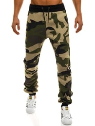Pánské maskáčové jogger kalhoty se zeleným zipem ATHLETIC 0801A