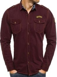 Košile vínové barvy v riflové stylu NORTH 2504