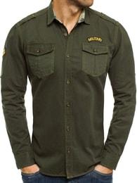 Khaki riflová košile NORTH 2504
