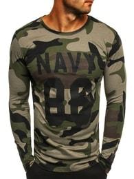 Pohodlné zelené army tričko s potiskem ATHLETIC 1087 - M