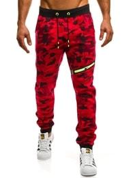 Červené maskáčové jogger s ozdobným zipem J.STYLE KK05 c2046d4155