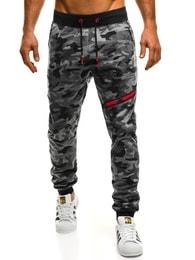 Tmavě šedé maskáčové jogger kalhoty s ozdobným zipem J.STYLE KK05 - L