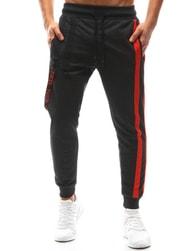Dstreet Antracitové jogger kalhoty s dekoračními prvky