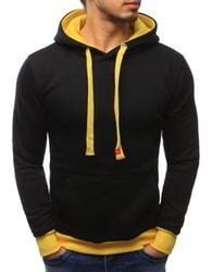 Černá mikina se žlutým lemem