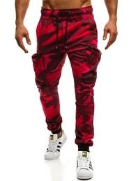 Červené maskáčové trendy jogger kalhoty ATHLETIC 475