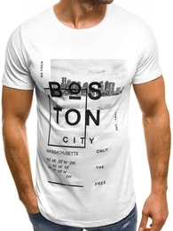 Bílé pánské moderní tričko OZONEE MAD/2477