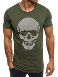 Zelené tričko s lebkou OZONEE 377 - S