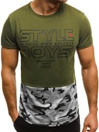 Pánské moderní zelené tričko OZONEE JS/SS351