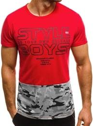 Pánské módní tričko červené OZONEE JS/SS351