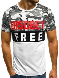 Bílé pánské tričko s potiskem OZONEE JS/SS396