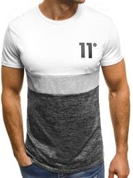 Bílé módní pánské tričko s číslicí 11 OZONEE JS/SS315