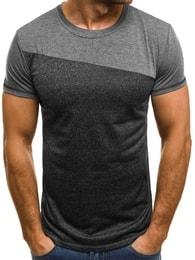 Pánské jednoduché tričko tmavě šedé OZONEE JS/5016 - M