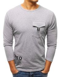 Dstreet Pánské šedé tričko s kapsou - M