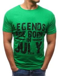Dstreet Jednoduché zelené tričko s potiskem - XXL