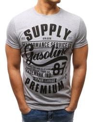 Dstreet Šedé jedinečné tričko s potiskem - XXL