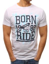 Dstreet Stylové bílé tričko s potiskem - XXL