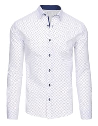Dstreet Jedinečná vzorovaná bílá košile