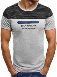 Šedé tričko se zipem OZONEE JS/SS330 - M