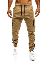 Sportovní pánské kapsáčové kalhoty v pískové barvě ATHLETIC 705