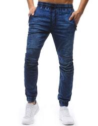Dstreet Jogger kalhoty pánské nebesky modré s černou šňůrkou v pase