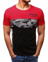 Dstreet Červené tričko v módním designu - XXL