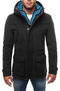 Dlouhý černý zimní kabát 9959