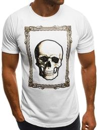 Bílé pánské tričko s lebkou B/181724