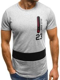 Šedé tričko se zipem OZONEE JS/SS320 - M