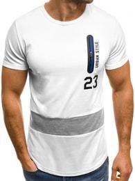 Bílé pánské tričko se zipem OZONEE JS/SS320 - M