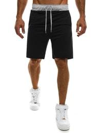 Černé kraťasy pro pány s kontrastním pasem - XL