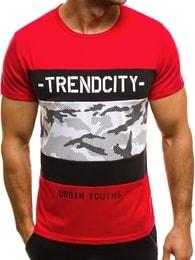 Červené pánské módní tričko OZONEE JS/SS333