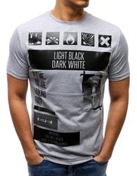 Pánské šedé tričko s bohatým potiskem - L