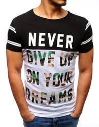 Moderní pánské dvojbarevné tričko NEVER GIVE UP