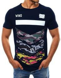 Tmavě modré pánské módní tričko WIND