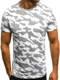 Bílé pánské tričko maskáčové OZONEE JS/SS229