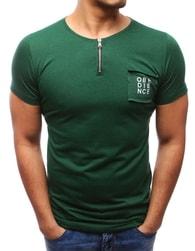 Zelené tričko se zipem ve výstřihu - M