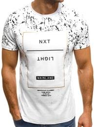 Bílé pánské moderní tričko OZONEE JS/SS353