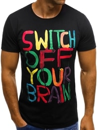 Černé tričko s barevným potiskem OZONEE O/1181 - S