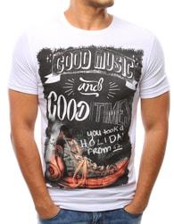 Jedinečné pánské bílé tričko GOOD MUSIC - XL