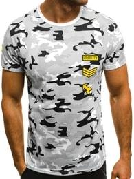 Bílé pánské army tričko OZONEE JS/SS331