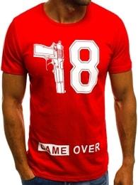 """Pánské červené tričko """"GAME OVER"""" O/1174 - XXL"""