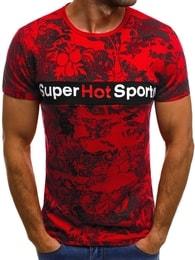Pánské červené tričko se zajímavým potiskem OZONEE JS/SS569