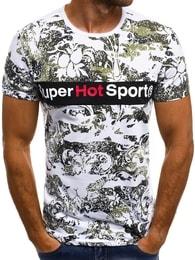 Pánské bílé tričko se zajímavým potiskem OZONEE JS/SS569